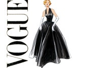 Evening Halter Dress Pattern Vogue V2962 Uncut Vintage 1950s Full Skirt Bobmshell Formal Gown Fit and Flare Womens Sewing Patterns