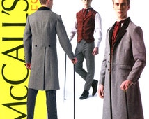 Mens Victorian Waistcoat Pattern Uncut Chest 34 to 52 McCalls M7003 Morning Coat Vest Pants Ascot Cosplay Steampunk Costumes Sewing Patterns