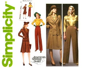 1940s Sportswear Pattern Simplicity 3688 Uncut Jackets Pants Skirts Blouse Suits Retro Reissue Bonnie & Clyde Womens Vintage Sewing Patterns