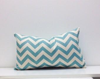 12 x 20 Premier Prints - Zig Zag Village Blue - Lumbar Pillow Cover