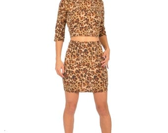 Leopard Dress crop top bodycon two piece high waisted