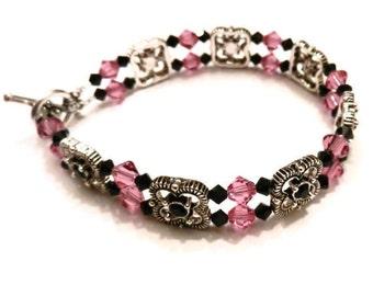 Pink & Black Swarovski Crystal Double Strand Bracelet, Black Bracelet, Pink Bracelet, Crystal Bracelet