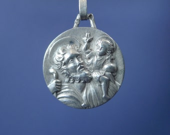 Saint Christopher Vintage Silver Religious Medal Pendant on 18 inch sterling silver rolo chain