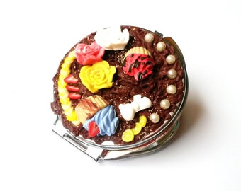 Sweet Compact Mirror Food Miniatures ( polymer clay cupcake bow colorful gift for girl women cute yellow red blue )