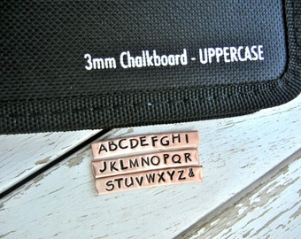 3mm UPPERCASE CHALKBOARD Font Steel Alphabet Letter Punch Stamp Set -  Metal Stamps for Hand Stamped Jewlery- Similar to Papyrus Font