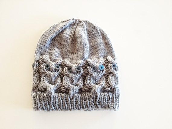 Owl Hat Knitting Pattern Free : Owl Knit Hat Pattern