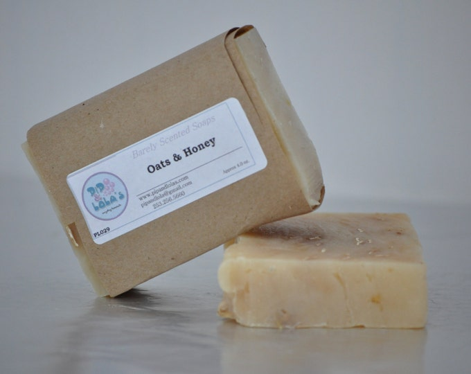 Oats & Honey Soap--All Natural Soap, Handmade Soap, Unscented Soap, Hot Process Soap, Vegetarian Soap,  Oats and Honey Soap