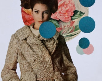 One of a Kind Surreal Art Paper Collage of Beautiful Woman with Geometric Circles