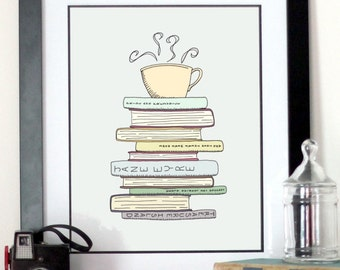 I Love Books and Coffee Print - Kitchen Art Illustration - Books and Reading Book Art -  Tea Cafe Art Drawing For Book Lover - Free Shipping