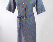 1950s Blue Housedress Autumn Leaves Cotton Dress Womens Medium
