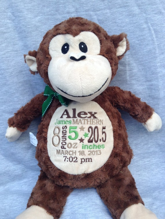Personalized Baby Gift Monogrammed Monkey Birth Announcement