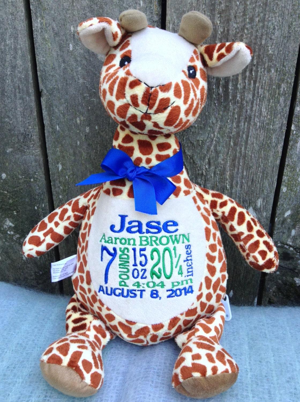 Personalized Baby Gift Monogrammed Giraffe Birth Announcement