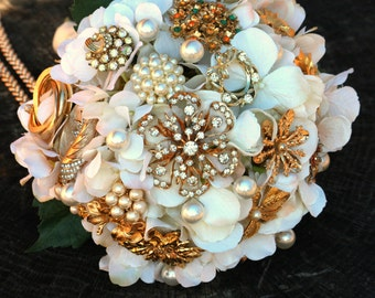 Broach Bouquet Vintage Gold Rust Orange Ivory Brooch Bouquet, Deposit Only