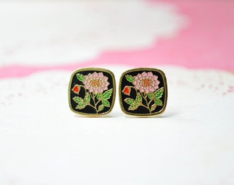 Pink Dahlia Earrings - Flower Enamel - Shabby Chic - Surgical Steel Earrings - Vintage Cabochons - Square Earrings