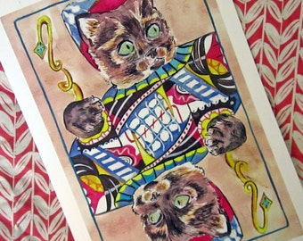 Jack Cat Playing Card print-Illustration