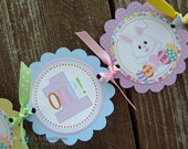 High Chair Banner- Pastel Easter- Bunny -Easter Bunny -Easter Eggs -Photo Prop -High Chair Bunting -1st Birthday -Small Banner - I am 1