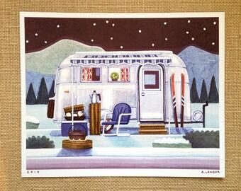 Vintage Airstream, Winter Camping, 8 x 10  Art Print