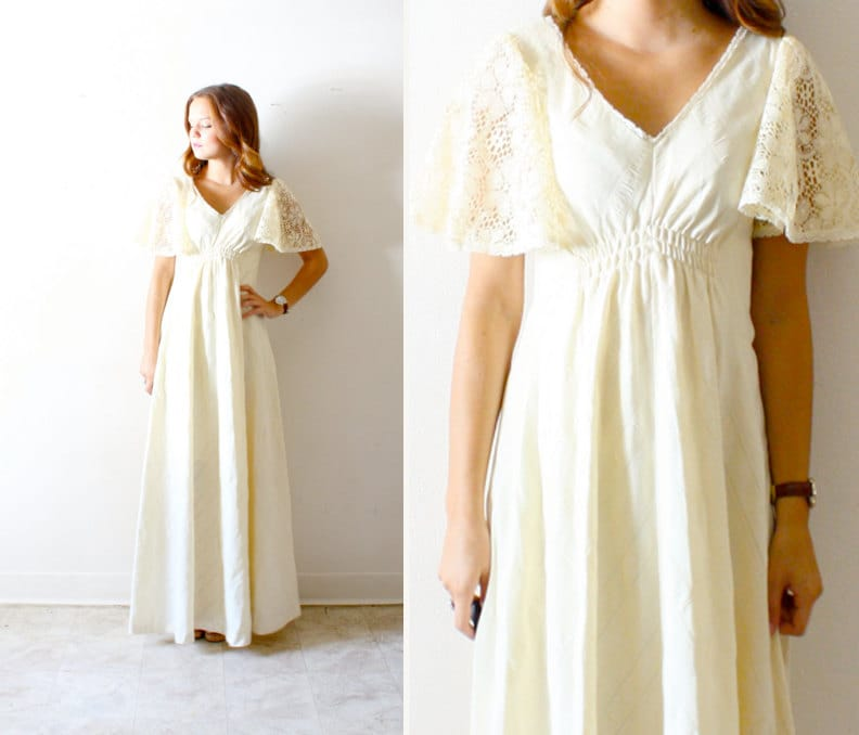 Vintage Wedding Dress Shabby Chic Lace Hippie By