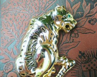 Large Gold Tiger Enamel and Rhinestone Pin