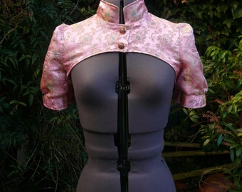 sunflowers on pink brocade fitted shrug bolero jacket fully lined in gold satin