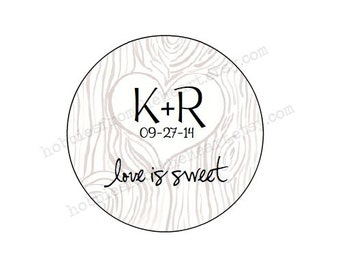 "Tree Trunk Initials - CUSTOM 2"" Wedding Labels - Personalized - Favor -KRAFT or WHITE -Brown Bag-round seals/Stickers/labels addresst"