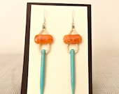 Turquoise Spike Earrings with Orange Calcite