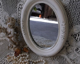 Shabby Petite mirror, embossed resin frame, creamy white, upcycled, French country style