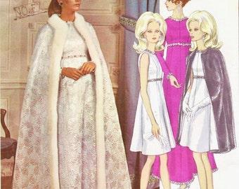 1960s Yves Saint Laurent Womens One-Piece Dress & Cape Vogue Paris Original Sewing Pattern 1897 Size 10 Bust 32 1/2 Label Included