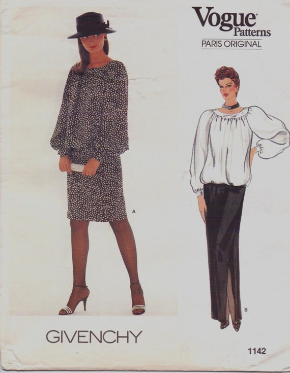 givenchy 80s vogue paris original sewing pattern by. Black Bedroom Furniture Sets. Home Design Ideas
