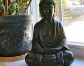 Buddha Statue Meditating, Black Buddhist Concrete Statues, Oriental Cement Garden Figurine