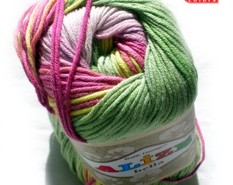 Pure Cotton Baby Yarn: Light Weight, Alize Bella Batik Design in pink and green. col. 4591 SALE
