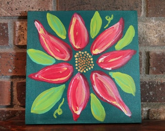 Pink and Yellow Original Acrylic Flower Painting #1 on Canvas