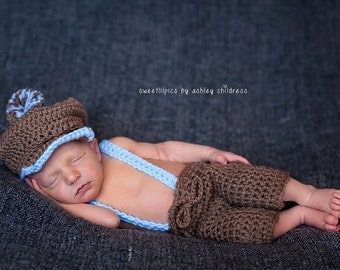 Newborn Golf Set / Cap Britches Bow Tie Suspenders Shorts - Crochet - Photo Prop