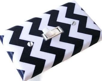 NAVY BLUE CHEVRON Light Switch Cover Plate Switchplate