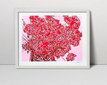"Original Screen Print Hand Printed Serigraph 25"" Poppies bouquet vase s fine art hand pulled made silkscreen printing screenprint painting"