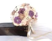 Purple bridal bouquet, custom wedding bouquet, fabric flower bridal bouquet DEPOSIT