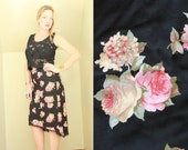 90s - Pink & Black - Rose Floral - Black Lace Trim - High Low - Fishtail - High Waist Skirt - Romantic - Grunge Revival