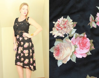 90s - Pink & Black - Rose Floral - Black Lace Trim - High Low - Fishtail - High Waist Skirt - Romantic - Grunge Revival