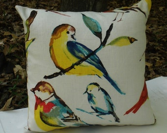 Bird Pillow Cover. Zipper Closure . Fully Lined . Richloom Birdwatcher . Summer. Handmade by Seams Original. Beautiful Watercolor Design