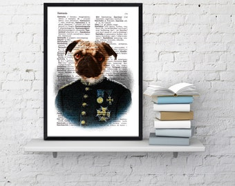 Summer Sale Colonel Pug  Wall decor, Unique Gift Pug dog dictionary print Gift him decor wall hanging Poster Print art Pet ANI131