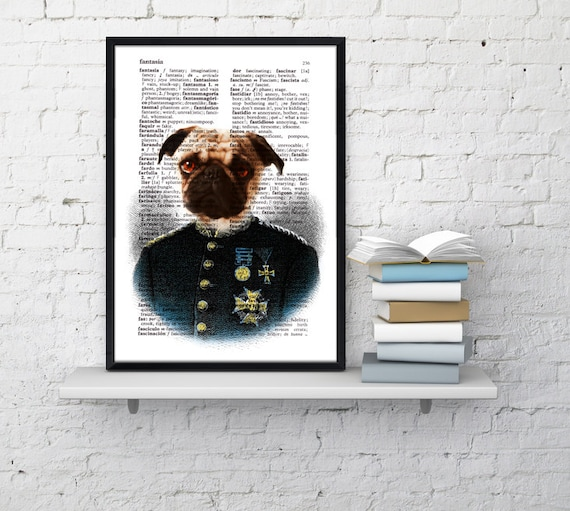 Spring Sale Colonel Pug  Wall decor, Unique Gift Pug dog dictionary print Gift him decor wall hanging Poster Print art Pet BPAN131