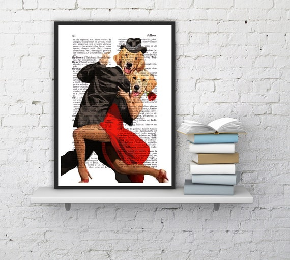 Funny animal ART- Golden Retriever tango dancers - Wall decor Unique Gift- Funny Dog wall hanging - Poster Print art funny poster BPAN139