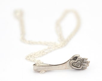 Heart and Hand Pendant Necklace - Recycled Sterling Silver