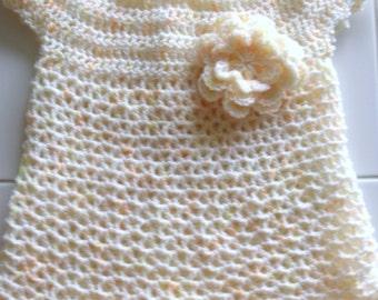 NEW Little Sweetie Baby Dress and Headband Hand Crochet  Size Newborn to 6 months Infant Dress