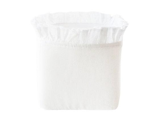 White linen storage basket or bin with ruffle SALE