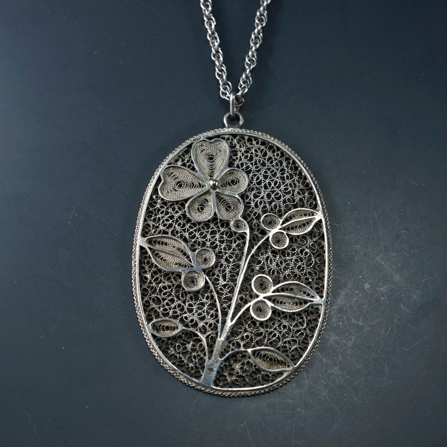 silver filigree necklace sterling silver by partsforyou