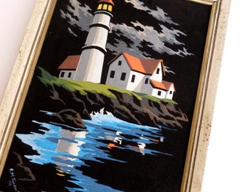 Black Velvet Paint By Numbers Painting of Coastal Beach Lighthouse Framed PBN Wall Art