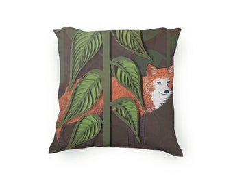Decorative Throw Pillow, Hand Drawn Fox with cut Paper and Quilling creating the garden, fox pillow,  paper art, Velveteen Pillow Cover Only