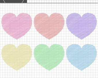 Valentine Clip Art, Heart Clip Art, Valentine Card Clip Art, Pastel Hearts, Instant Download,Commercial Use,Valentine Digital