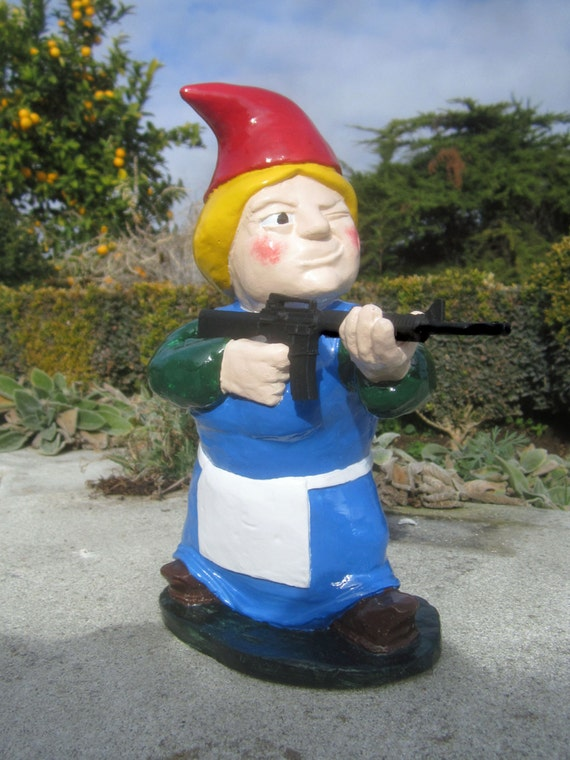 Blonde combat garden gnome female rifleman with m 16 by for Combat garden gnomes